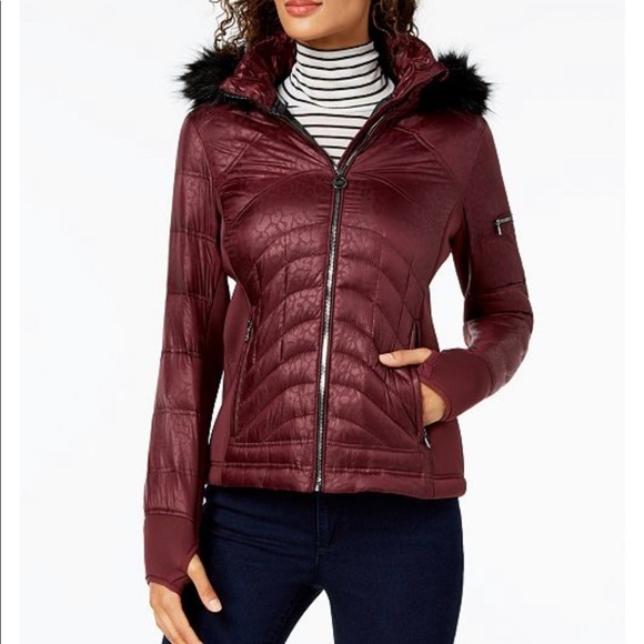 552dafded5a MICHAEL KORS Mixed-Media Hooded Puffer Coat PLUM